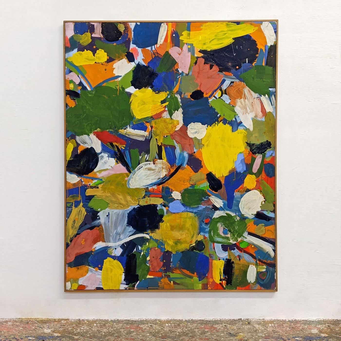 """Spätherbst"", 156 x 123 cm, Acrylbinder, Farbpigmente, Nessel, 1984"