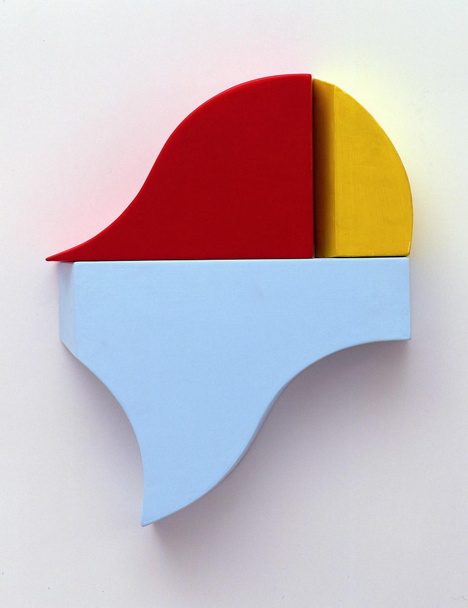 Verkreistes Rechteck C, 46x56x10cm, Acrylfarbe, Holz, 1999