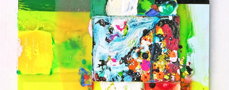 """Scheiblette II"", 30x28 cm, Acrylfarbe, Plexi, 2010"