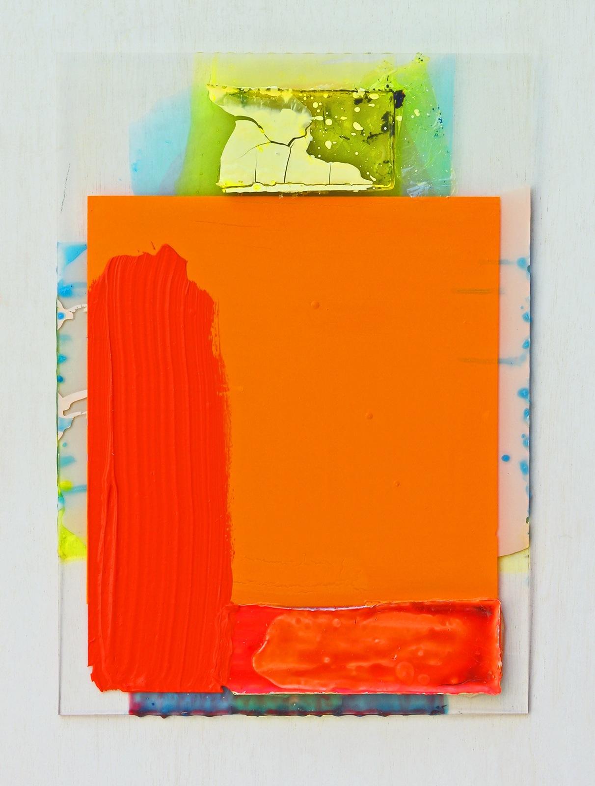 """Scheiblette IV"", 42x30 cm, Acrylfarben, Plexi, 2010"