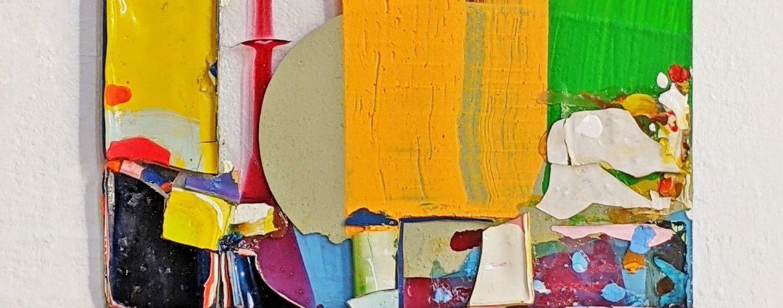 """Scheiblette VIII"", 34,5x29,5 cm, Acrylfarbe, Plexi, 2010"