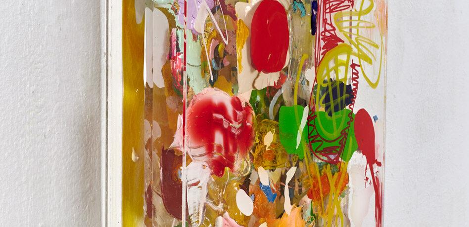 """""""Farbsalat"""", 52x42x9 cm, Acryl, Holz, Plexi, 2020"""