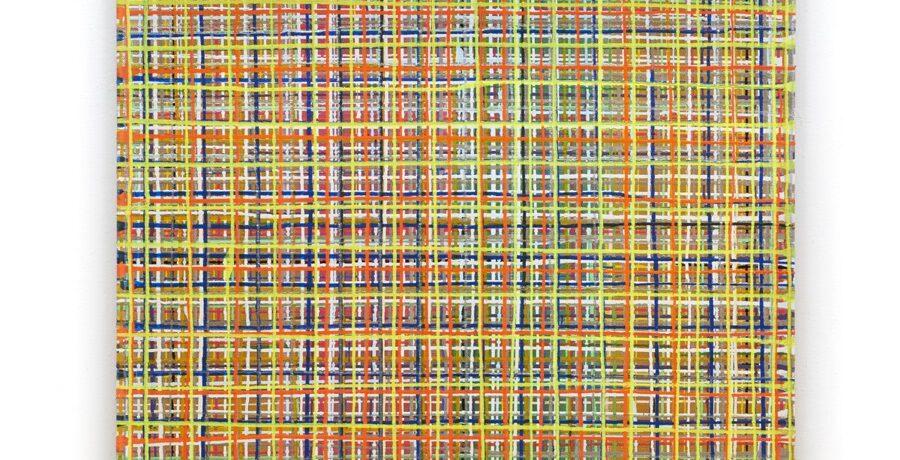 Grid goldrobust, 200 x 140 cm, Acryl auf Jute, 2009