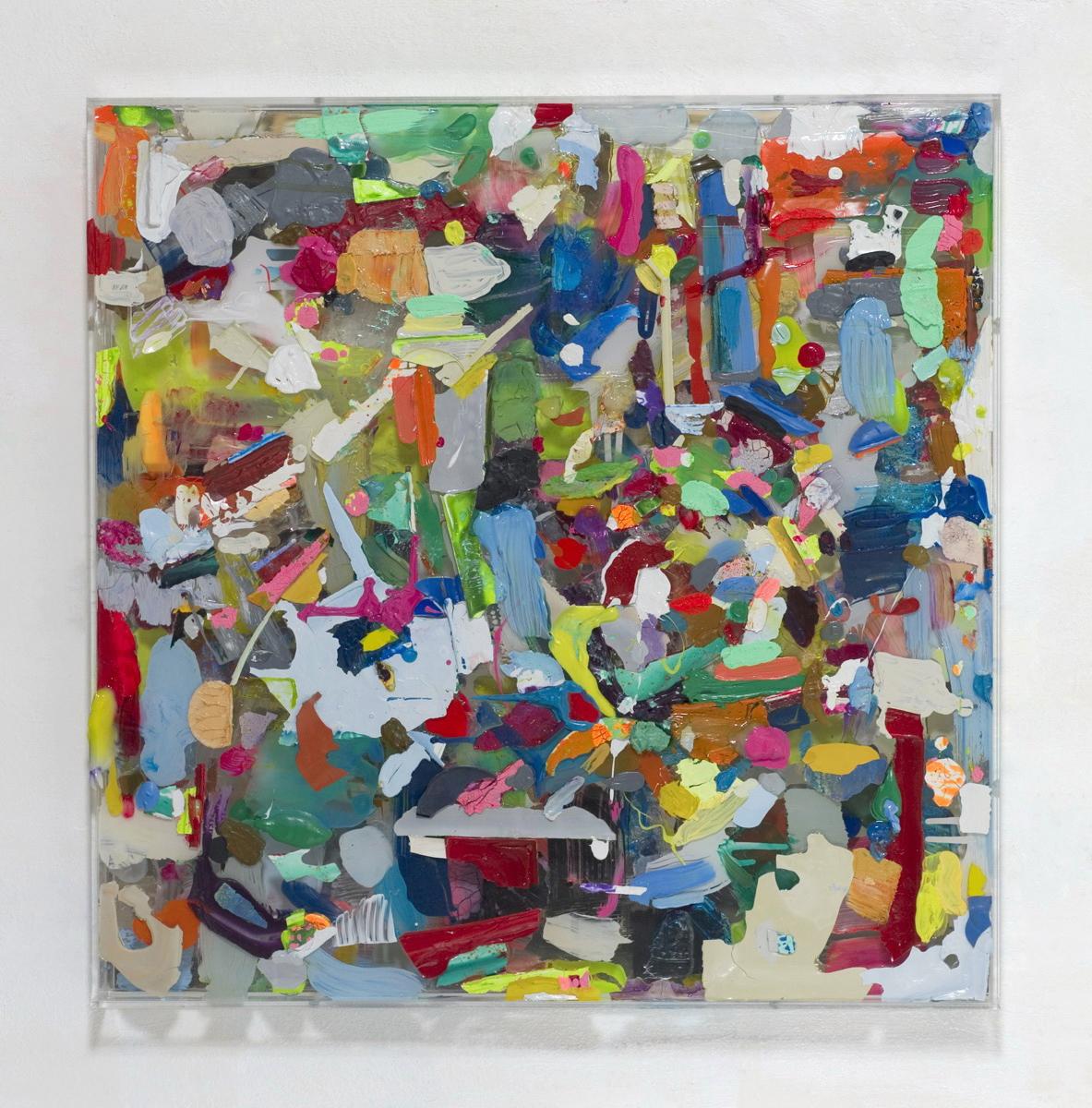 """Farbkasten II"", 61x61x6 cm, Acrylfarbe, Holz, Spiegel, Plexi, 2010"