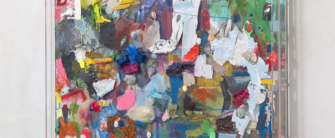 """Farbkasten III"", 68x68x8 cm, 2011, Acrylfarbe, Spiegel, Holz, Plexi"