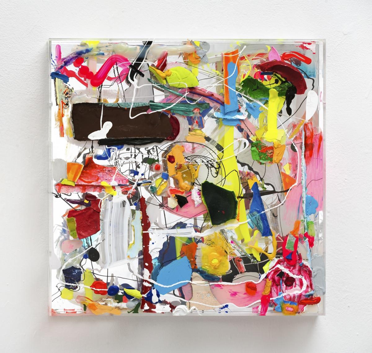 """""""Über Spiegel"""", 2013, Acrylfarbe, Spiegel, Holz, Plexi"""