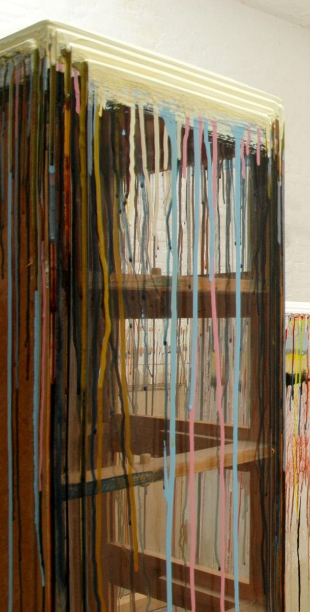 """""""Farbvitrine"""", Acrylfarbe, Holz, Plexi, 1996"""