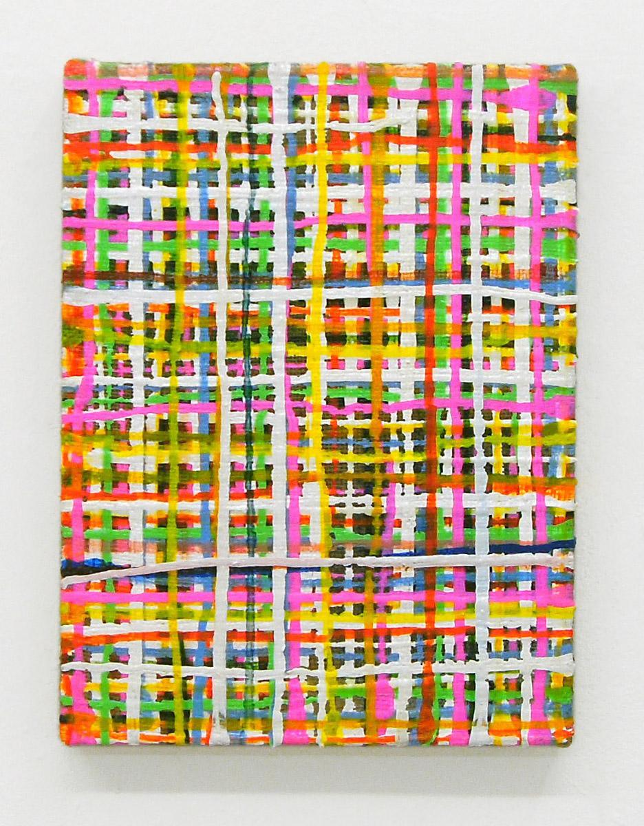 """Grid Soft"", 40x30 cm, Acrylfarbe, Jute"