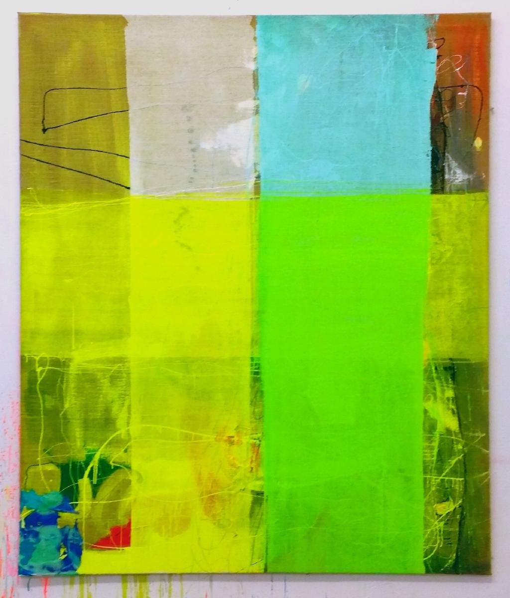 """Prognose"", 180x150 cm, Jute, Acrylfarbe, 2015"