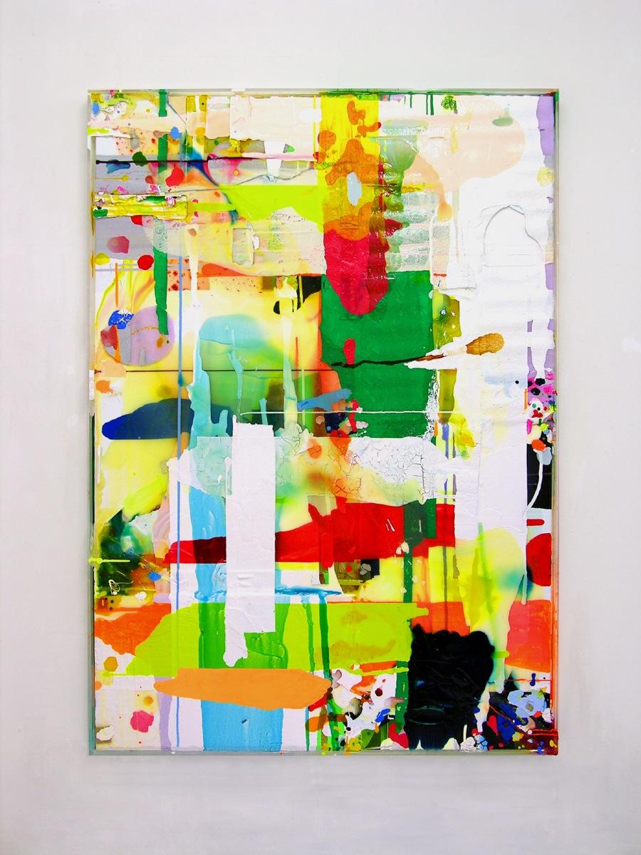 """Orientierung"", 2008, 205x145 cm, Acrylfarbe, Steropor, Plexi, Leinwand"