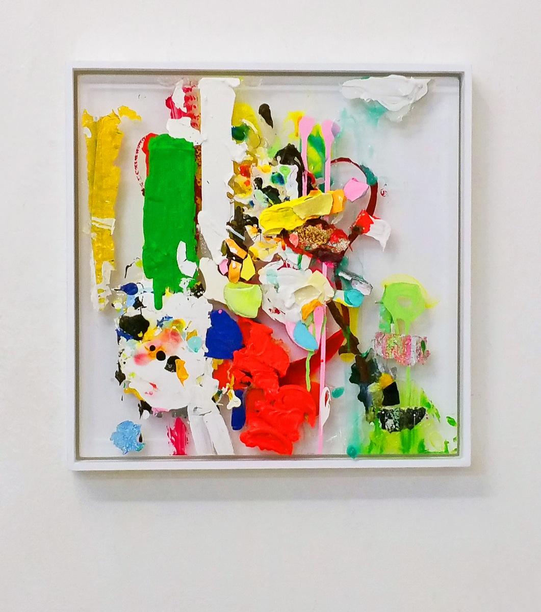 """""""Bunch of Colors"""", 2019, 54x54x5 cm,Acryl, Plexi, Holz"""
