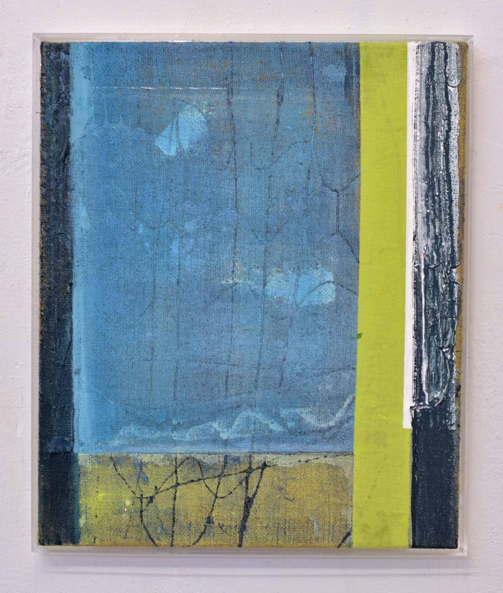 """Fenster"", 62x53 cm, Acrylfarbe, Jute, Plexirahmen, 2015"