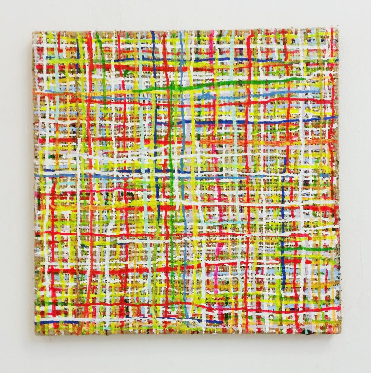 """Rud"", 50x50 cm, Acrylfarbe, Jute, 2010"