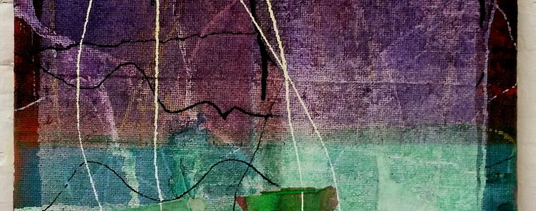 """""""Aussicht"""", 50x50 cm, Acrylfarbe, Leinwand, Jute, 2015"""