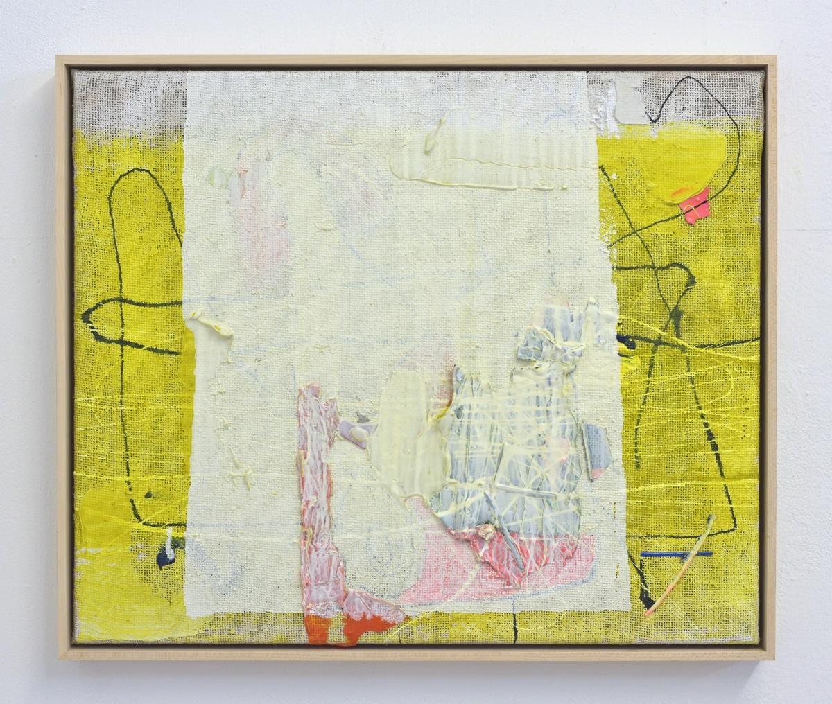 """Trost"", 52x62 cm, Acrylfarbe, Jute, Holz gerahmt, 2015"