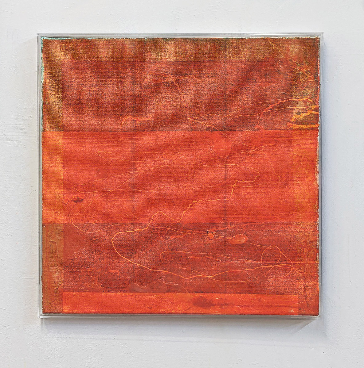 """Verlauf"", 62x62 cm, Acrylfarbe, Jute, Plexirahmen, 2016"