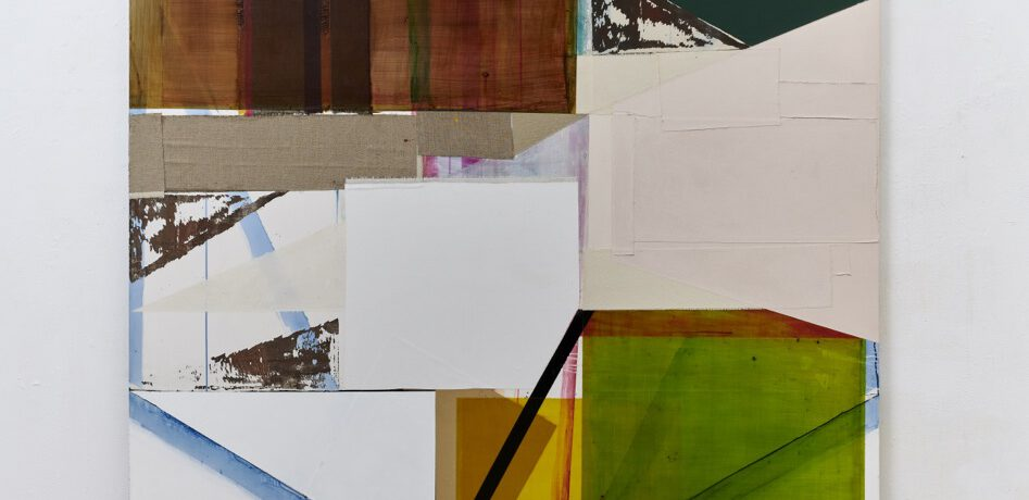 """History of Doing"", 260x195 cm, Acrylfarbe, Tusche, div. Stoffe, Leinwand, 2019"