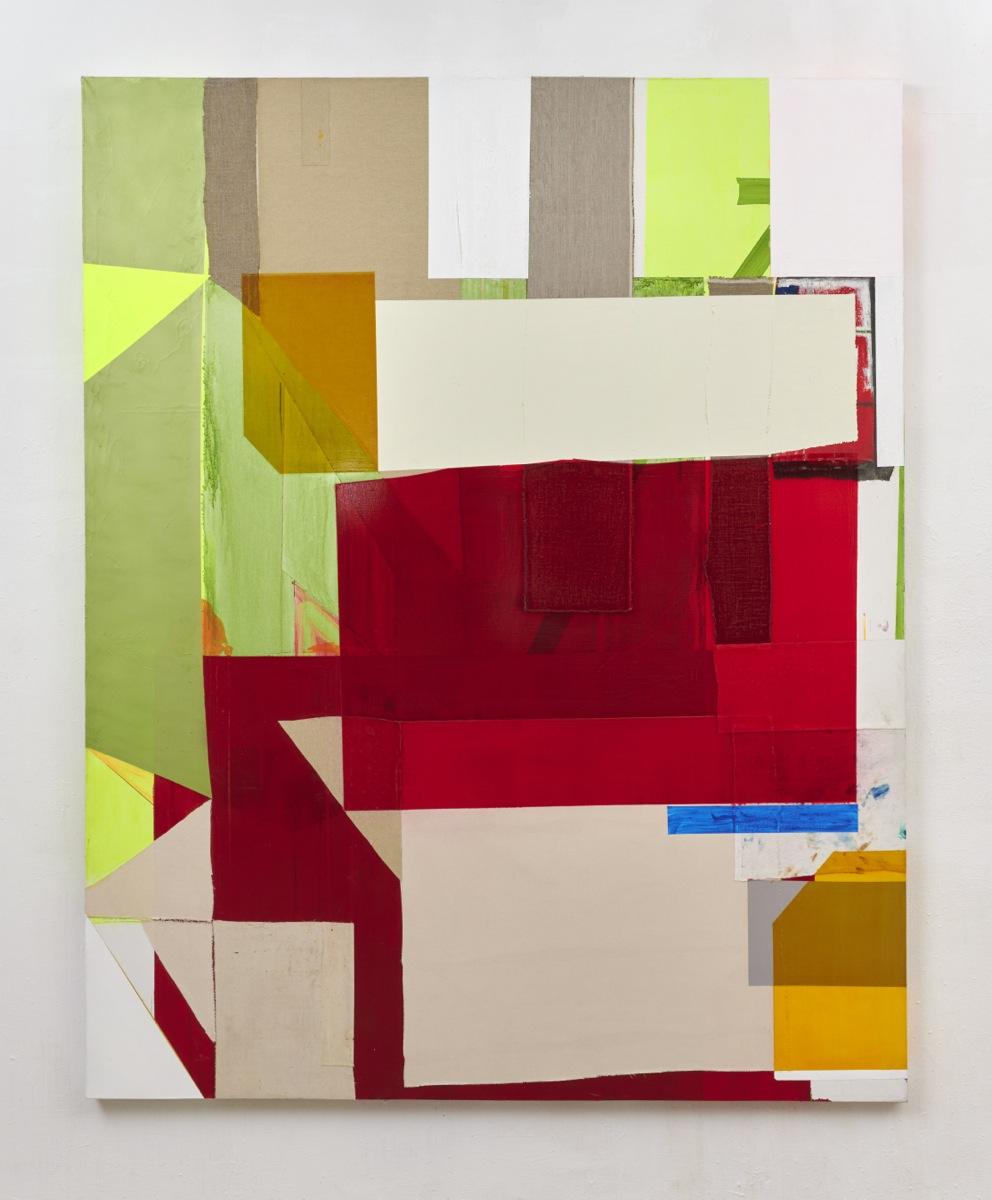 """Screening Green"", Acrylfarbe, div.Stoffe, Leinwand, 2019"