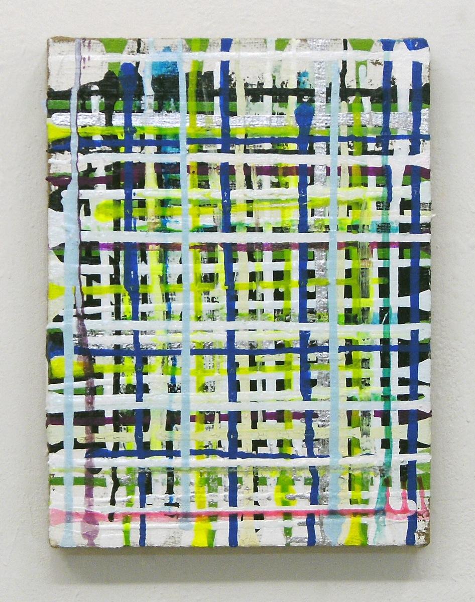 """Grid Dew"", 40x30 cm, Acrylfarbe, Jute"