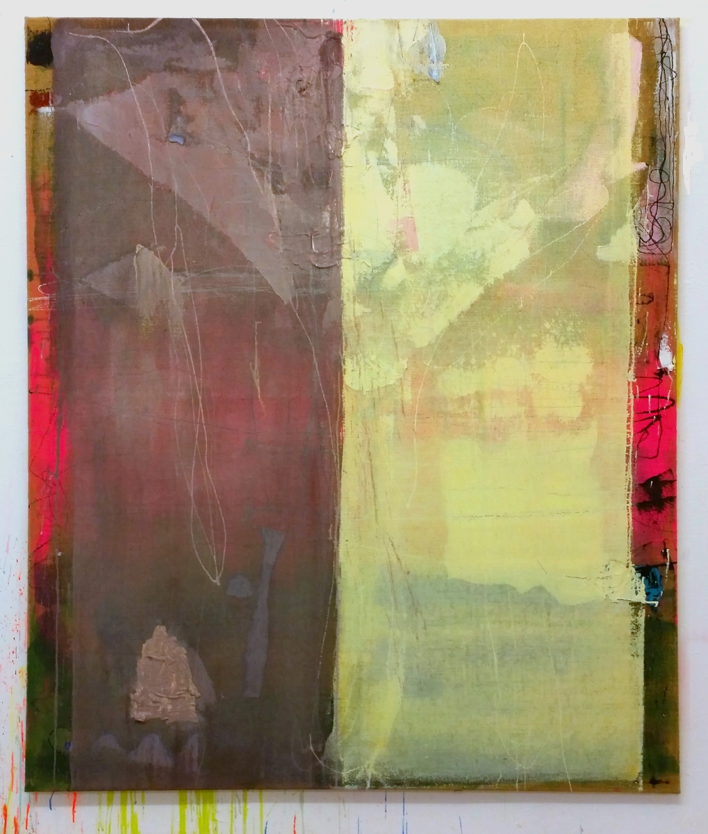 """Flush"", 2015, 180x150 cm, Acrylfarbe, Jute"