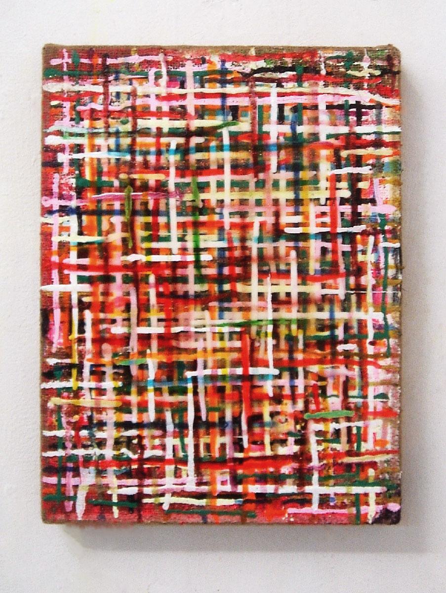"""""""Grid Shame"""", 40x30 cm, Acryl auf Jute, 2010"""