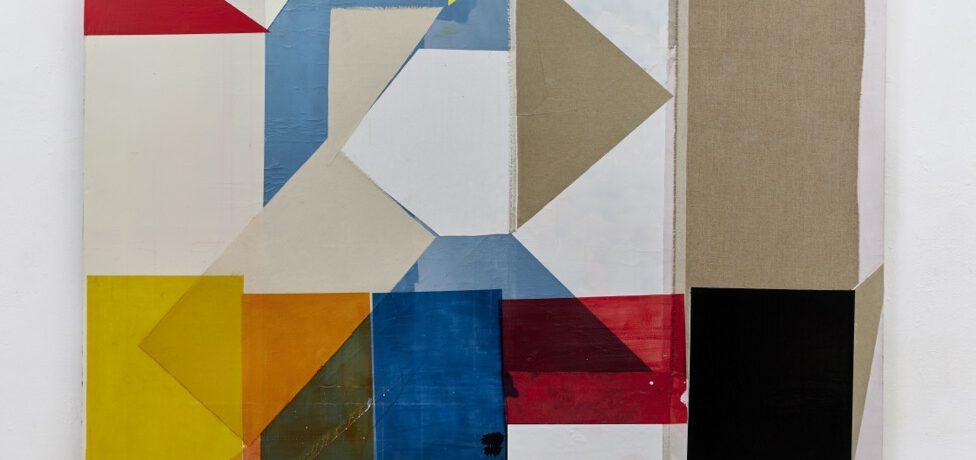 """""""Next Gagosian"""", 235x184 cm, Acrylfarbe, Tusche, div.Stoffe, Leinwand, 2018"""