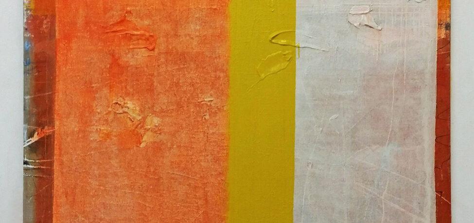 """Dosierung"", 2015, 180x150 cm, Acrylfarbe, Jute"