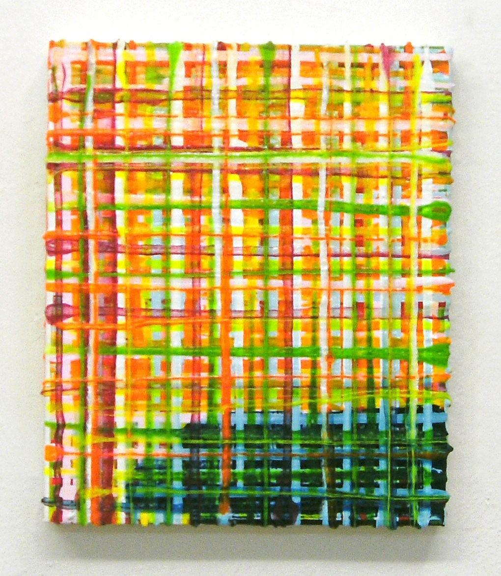 """Grid Swamp"", 40x30 cm, Acrylfarbe, Jute, 2008"