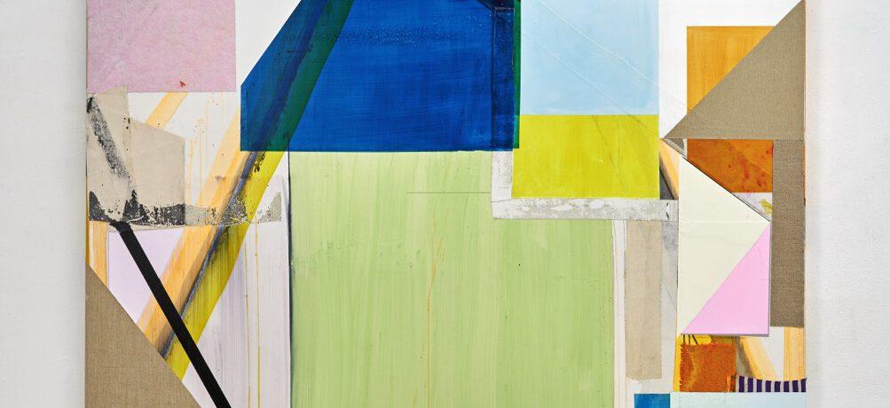 """Schiefes Bild"", 228x184 cm, Acrylfarbe, div.Stoffe, Leinwand, 2019"