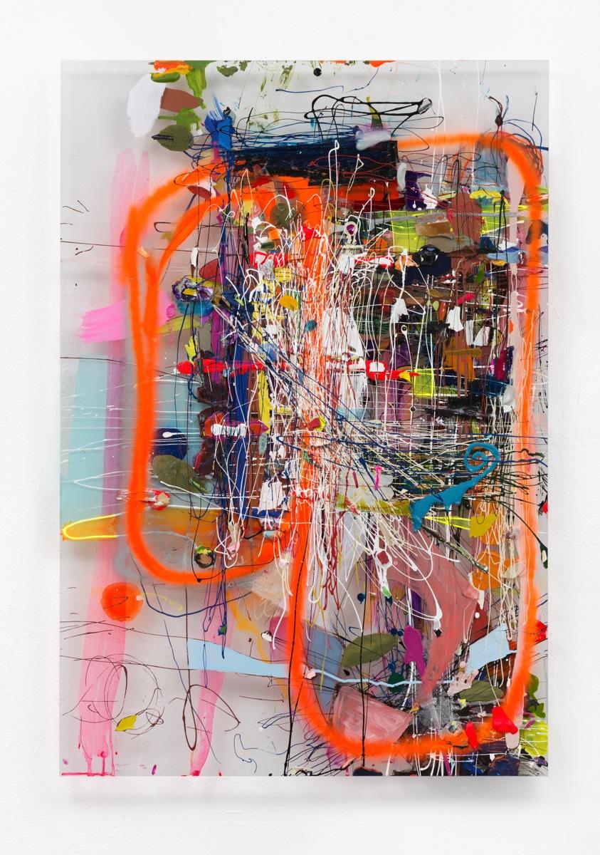 """Red Circle"", 107x73x5 cm, Acrylfarbe, Plexi, 2013"