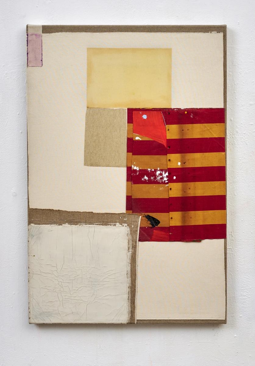 """Reminder"", 120x80 cm, Acrylfarbe, div.Stoffe, Leinwand, 2018"