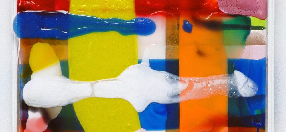 O.T., 2005, 43x43 cm, Acryl, Leinwand, Plexi