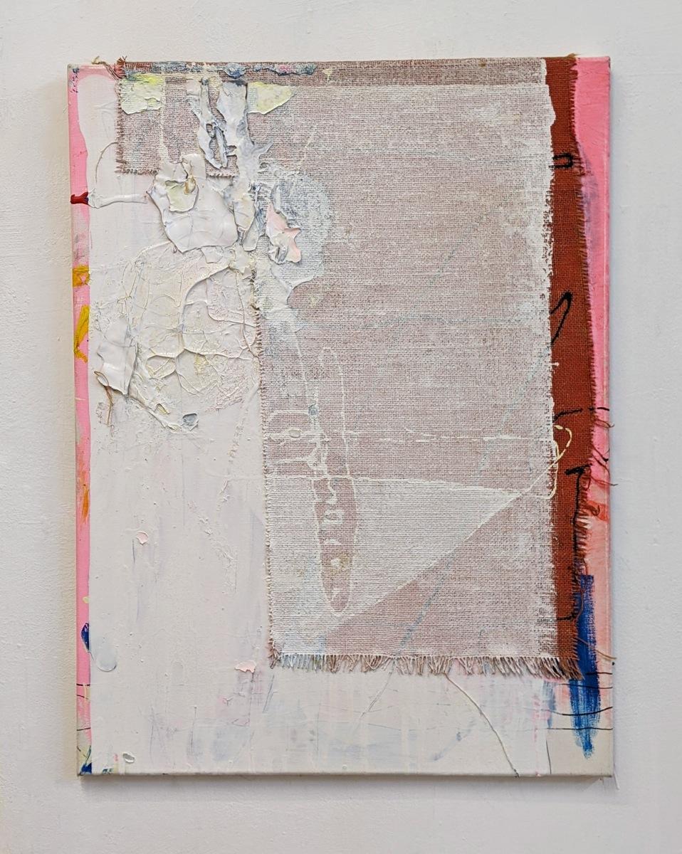 """Versorgung"", 80x60 cm, Acrylfarbe, LW, Jute, 2015"