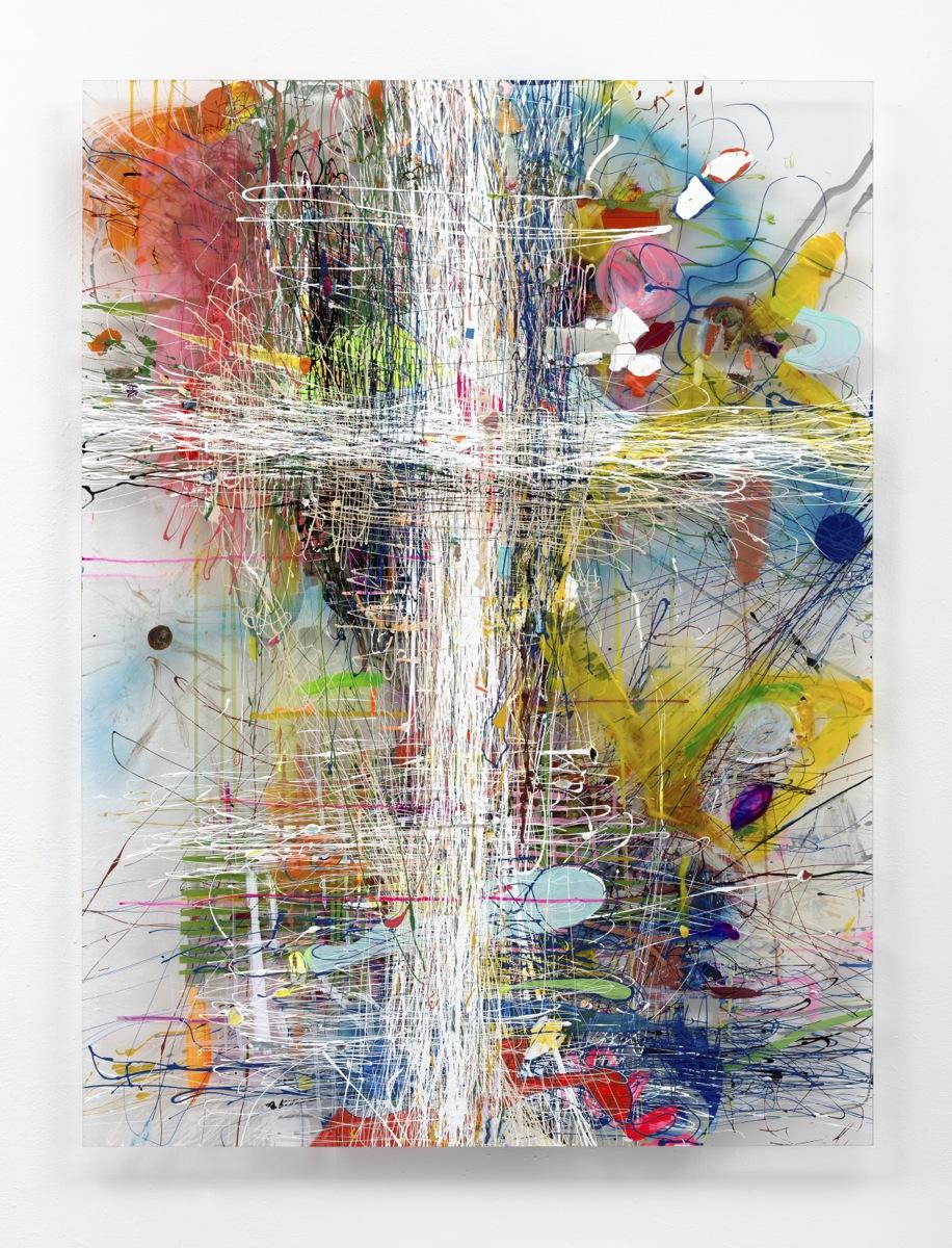 """Fadenkreuz"", 146x107x5 cm, Acrylfarbe, Plexi, 2013"