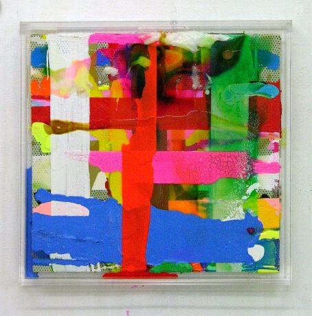 """Magdeburg"", 2009, 43x43x5 cm, Acrylfarbe, LW, Plexi"