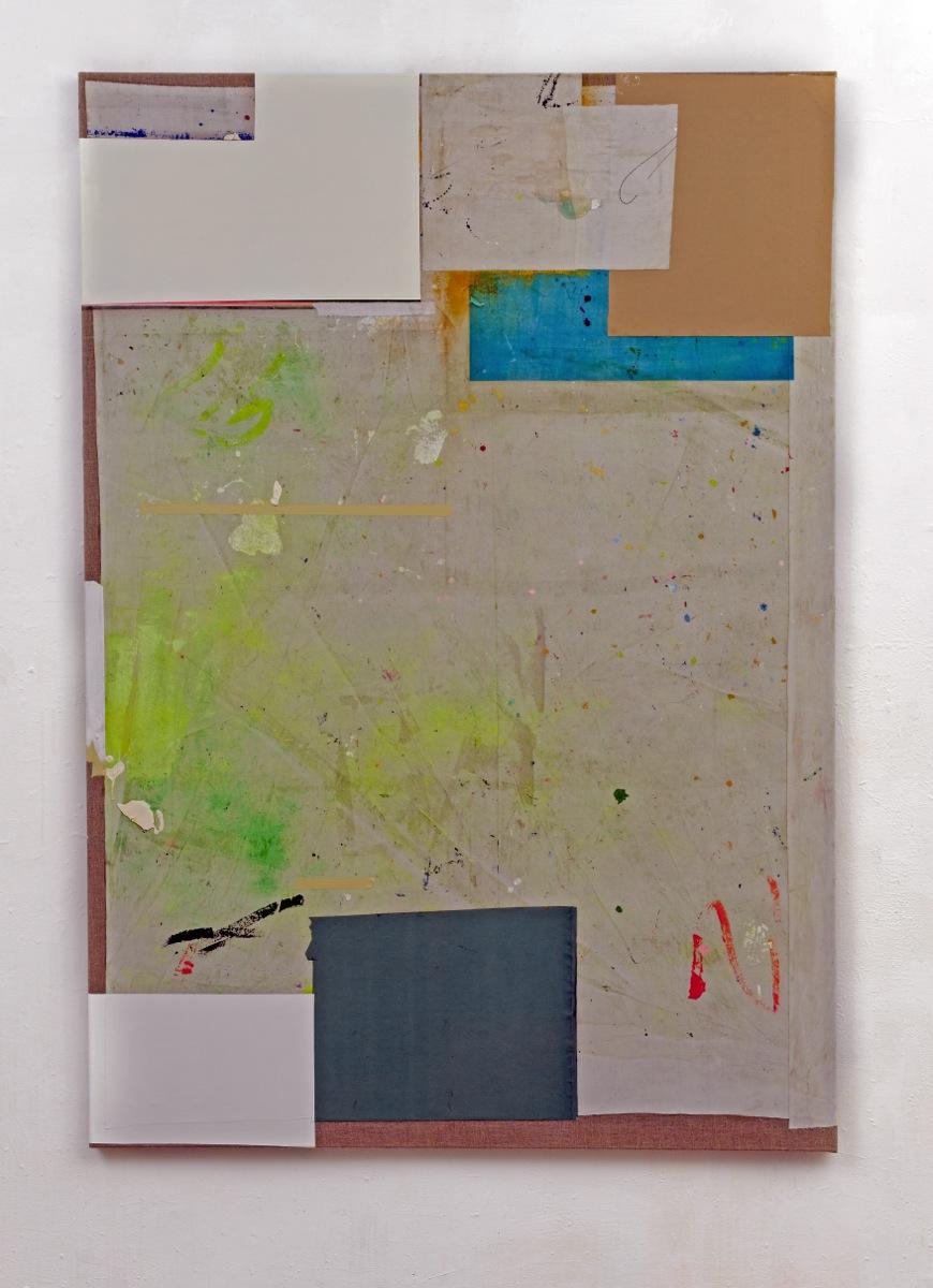 """Upcoming Reasons"", 200x140 cm, Acrylfarbe, div.Stoffe, Leinwand, 2018"