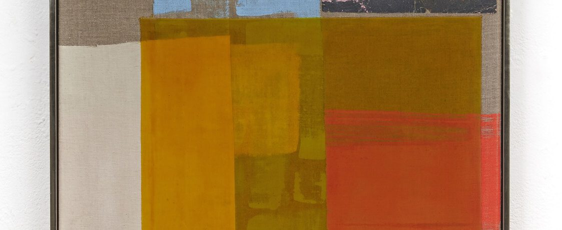 Yellow Window, 73x73x6cm, Acrylfarbe, Sandpapier, Leinwand, Holzrahmung vergoldet, 2017