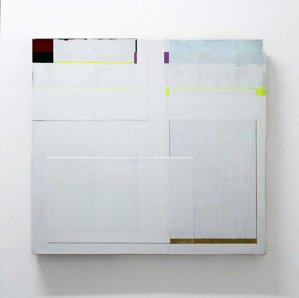 """Flachware"", 95x105x10 cm, Acrylfarbe, div. Materialen, Holz, 1991"