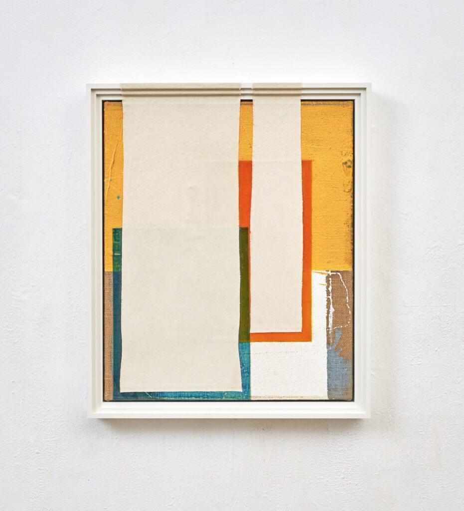"""""""Nachsicht"""", 67x57x7 cm, Acrylfarbe, Jute, Leinwand, gerahmt, 2018"""