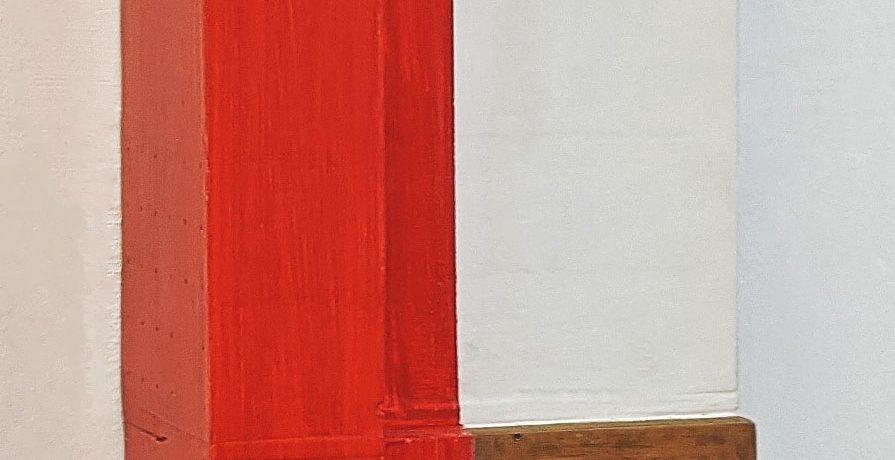 """""""Die Rote Ecke"""", 43x27x15 cm, Acryl, Hartfaser, Holz, 1996"""