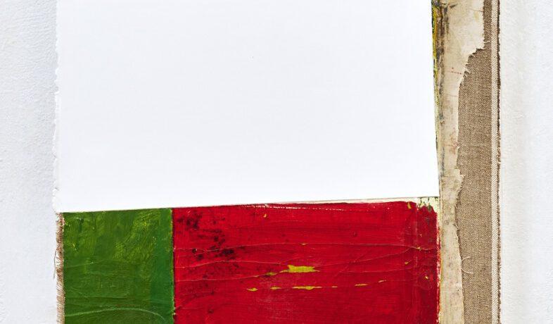"""Atelier"", 91x56 cm, Acrylfarbe, div.Stoffe, Leinwand, 2017"