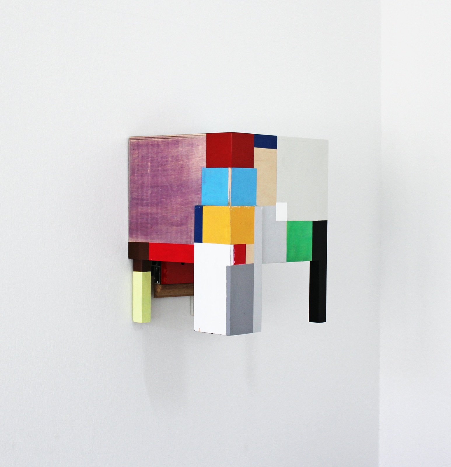 """""""Look and Sit!"""", 45x30x30 cm, Acrylfarbe, Tinte, Holz, 2013"""