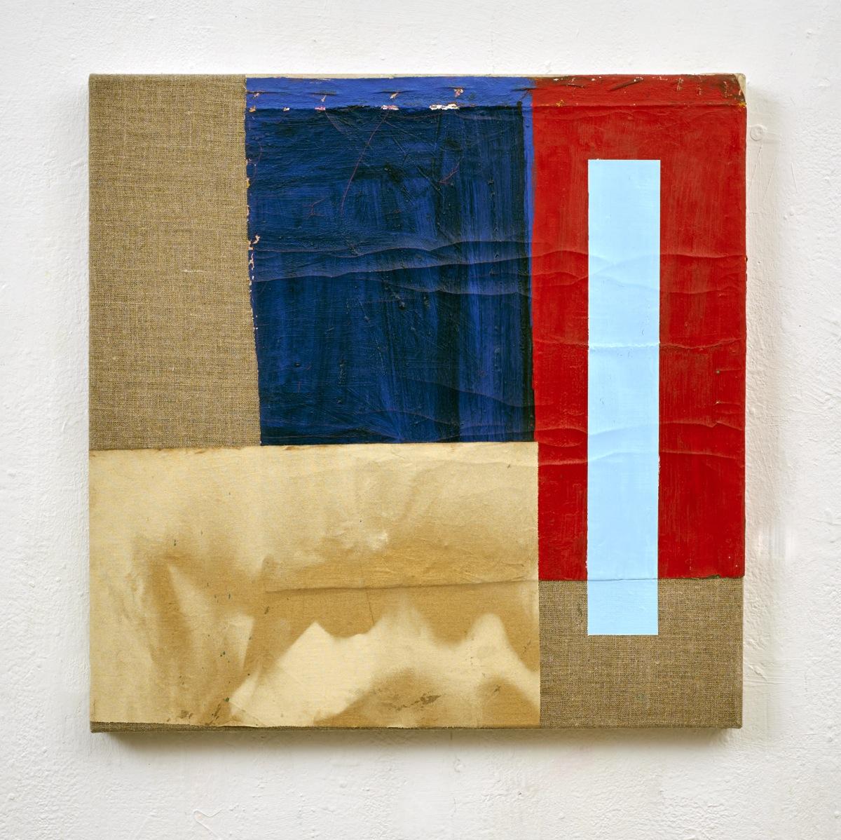 """""""Geht doch"""", 60x60 cm, Ölfarbe, Acrylfarbe, div.Stoffe, 2016"""