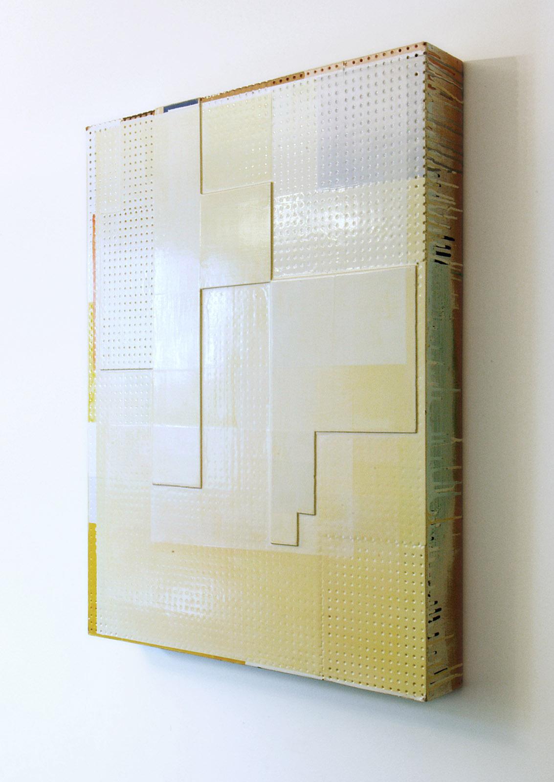 """""""Gelbes Frankfurt"""", 90,68x11 cm, Acryllack, Hartfaser, Holz, 1996"""