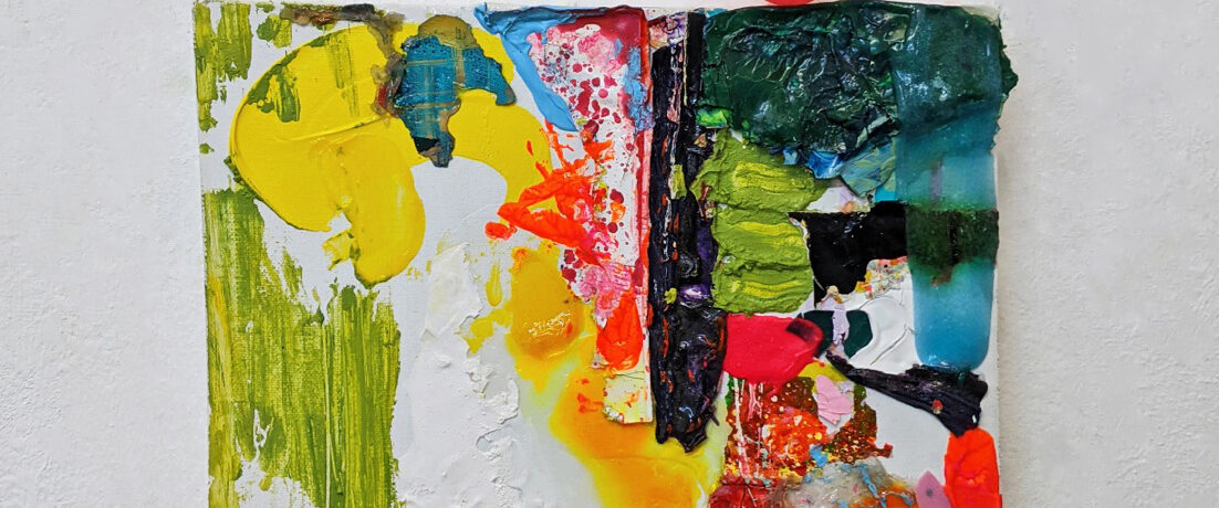 """Sleeping Clown"", 27x30 cm, Acrylfarben, Leinwand, Pingpong-Ball, 2020"