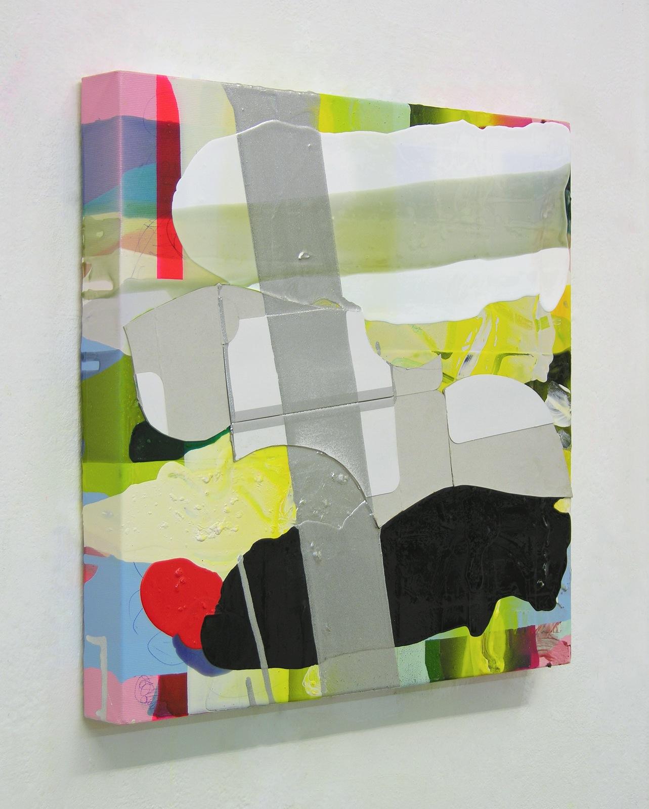 Quadrat o.T., 40x40 cm, Acryllack, Papier, Leinwand, 2005