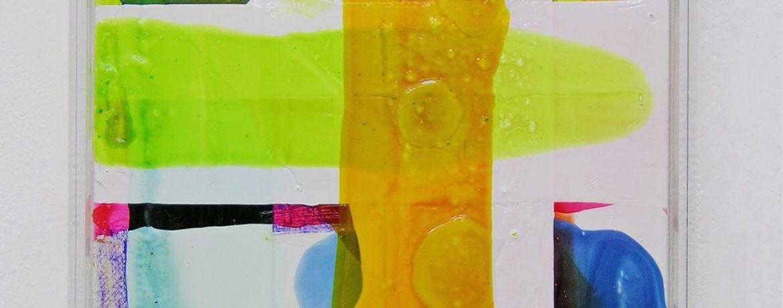 O.T.-geliert, 43x33x5 cm, Acrylfarbe, Leinwand, Plexi, 2005