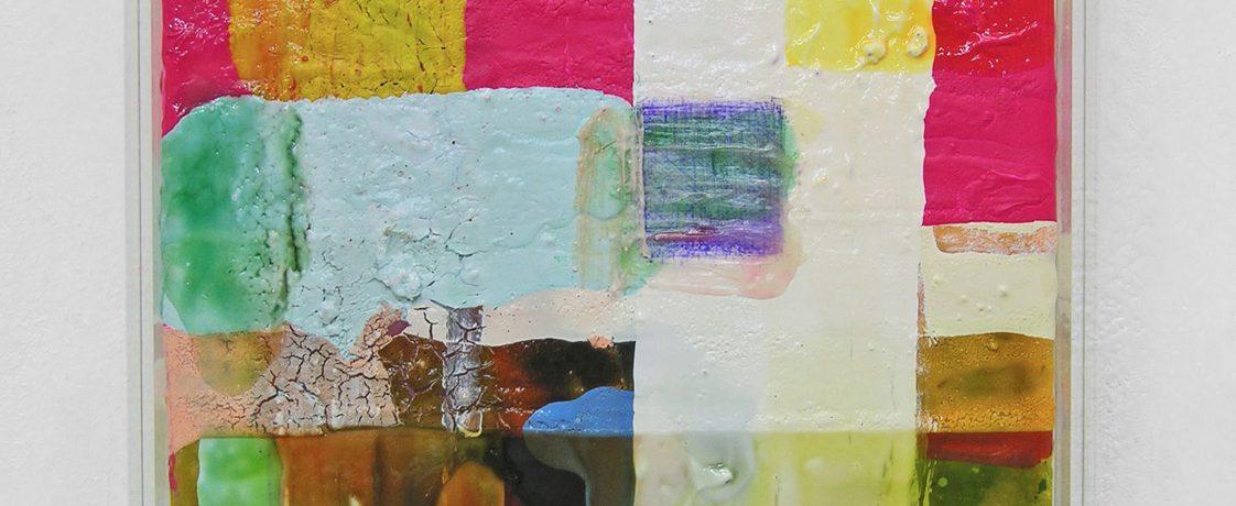 Auch o.T., 34x33x5 cm, Acrylfarbe, Leinwand, Plexi, 2005