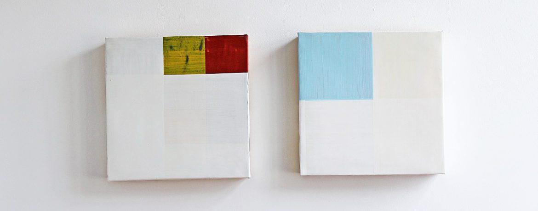 """Gedeckelt"", 2x,51x51x12 cm, Acrylfarbe, Zinkblech, Pressspan, 1992"