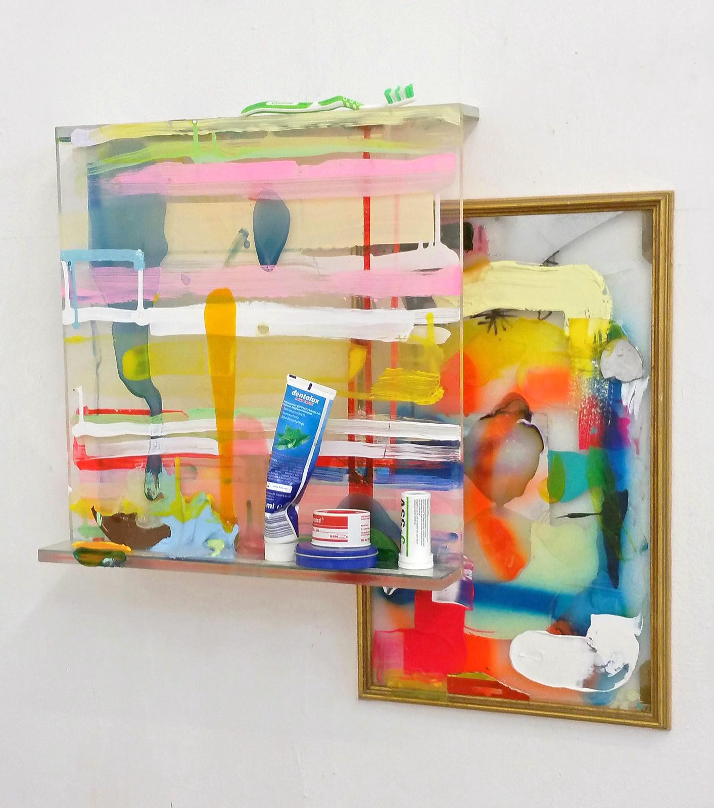 """Artists toilette"", 90x60x10cm, Acrylfarbe, Plexi, div.ausgewählte Artikel, 2018"